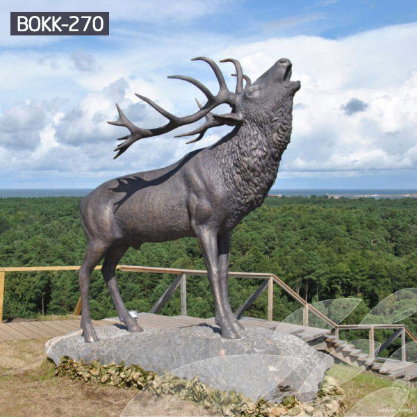 Bronze stag statue garden life size outdoor metal sculptures for sale