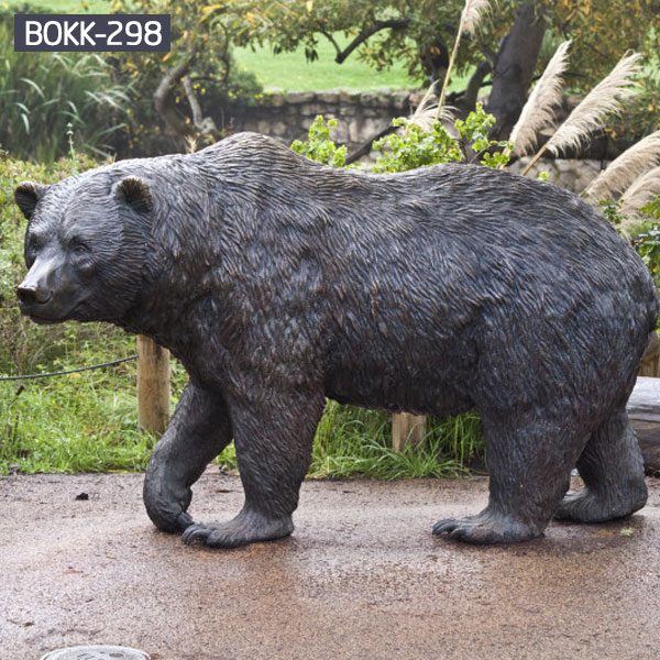 Large outdoor bronze black bear garden statues for lawn ornaments